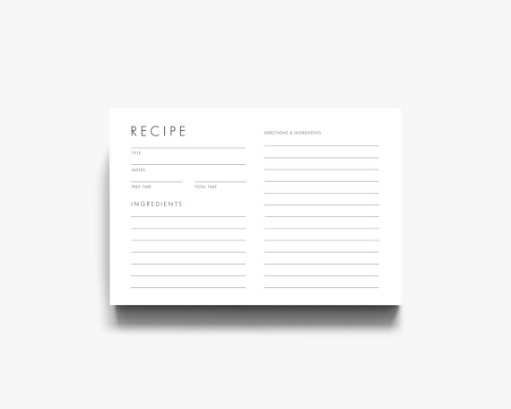 Modern Recipe Card, Downloadable Recipe Card, Printable Recipe Cards