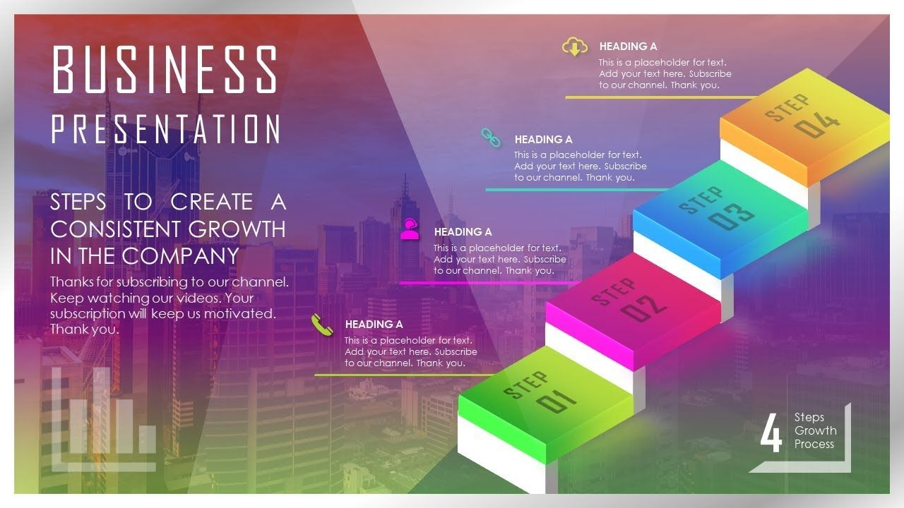 How To Create Business Growth, Ladder, Steps Presentation