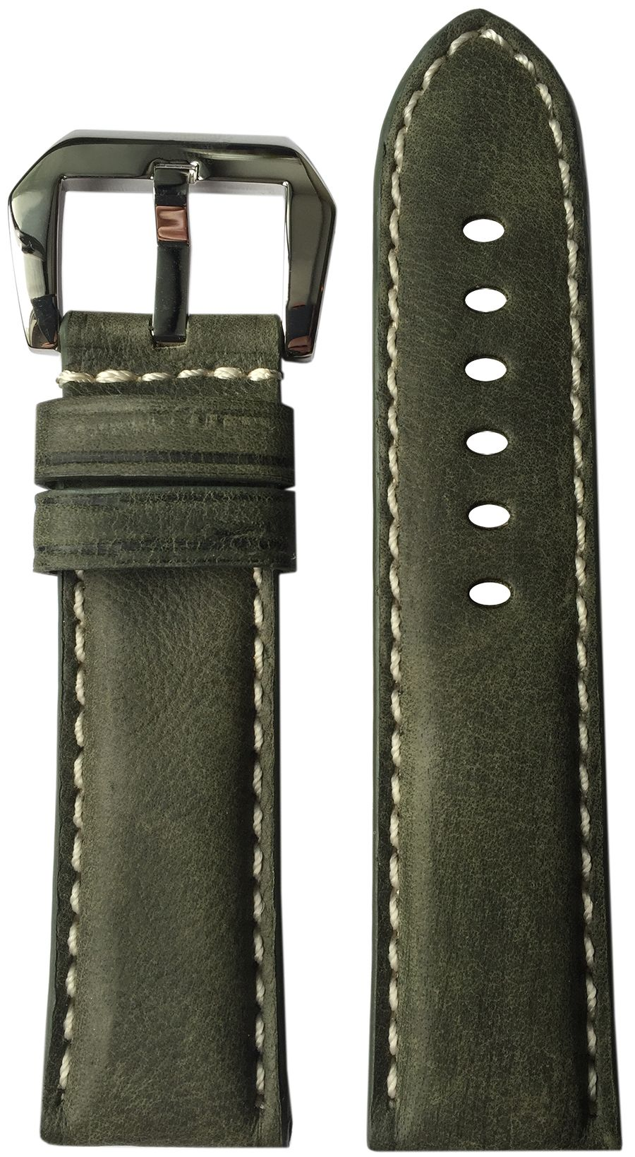 NEW ITEM-24mm XL RIOS1931 for Panatime Olive Genuine Vintage Leather Watch Strap with White Stitching for Panerai 24/22 124/92