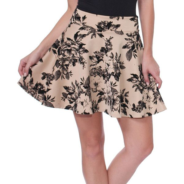 Brooke & Emma Cream & Black Floral Skater Skirt ($13) ❤ liked on Polyvore featuring skirts, circle skirt, long stretch skirt, long circle skirt, long floral maxi skirt and short maxi skirt