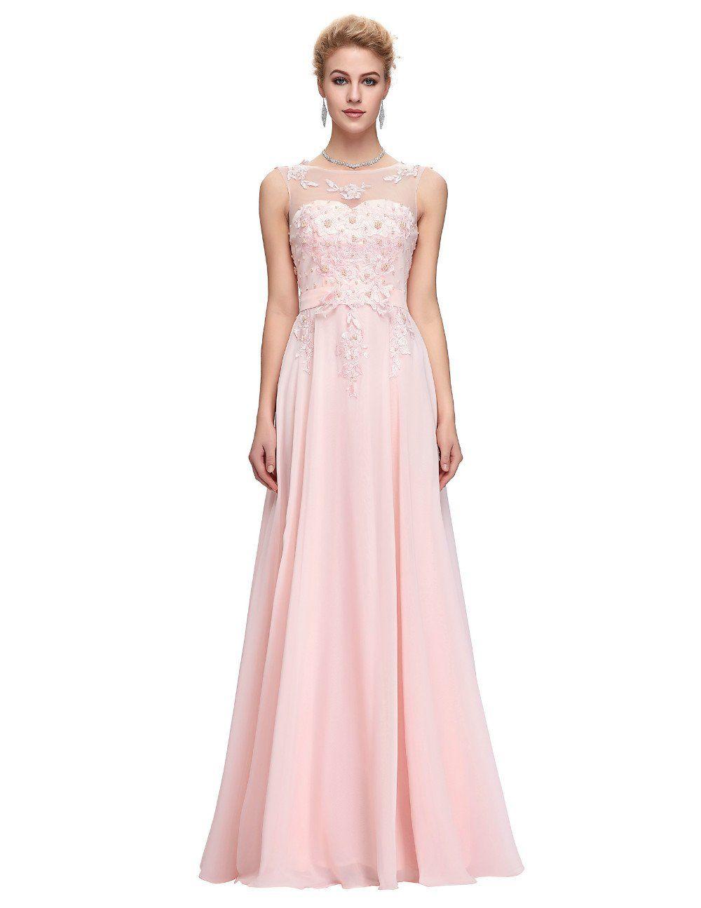 Long bridesmaid dresses sleeveless chiffon pink red royal blue black