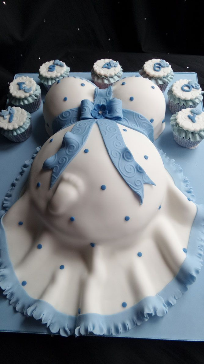 Baby Bump Baby Shower Cake In Blue And White Baby Bump Cakes Baby Shower Cakes For Boys Baby Shower Cupcakes