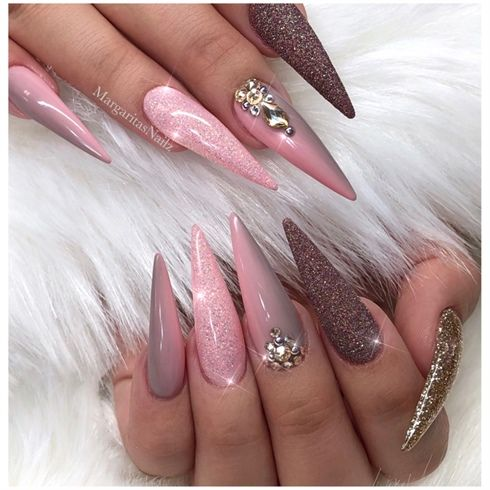 Ombr And Glitter Bling Stiletto Nails By Margaritasnailz From Nail