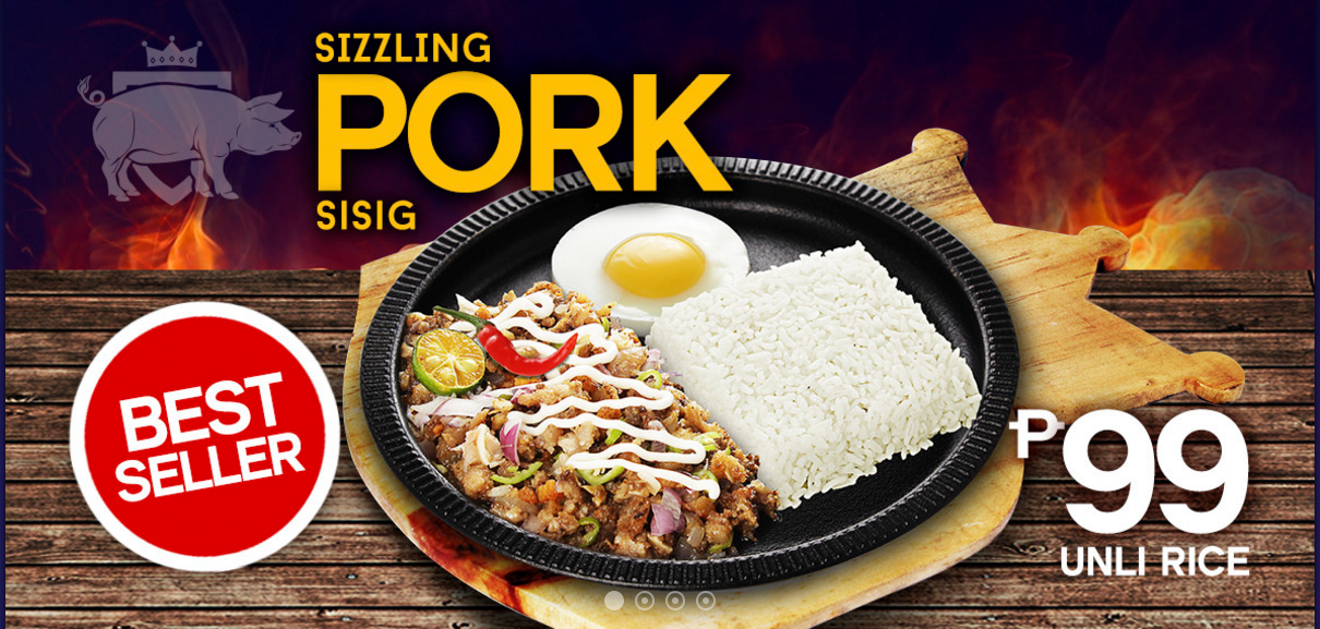 Sizzling Sisig Pork with unlimited rice and free soup for only P99.00, that will surrely spice up your day, it is also our Best Seller #HariNgSisig