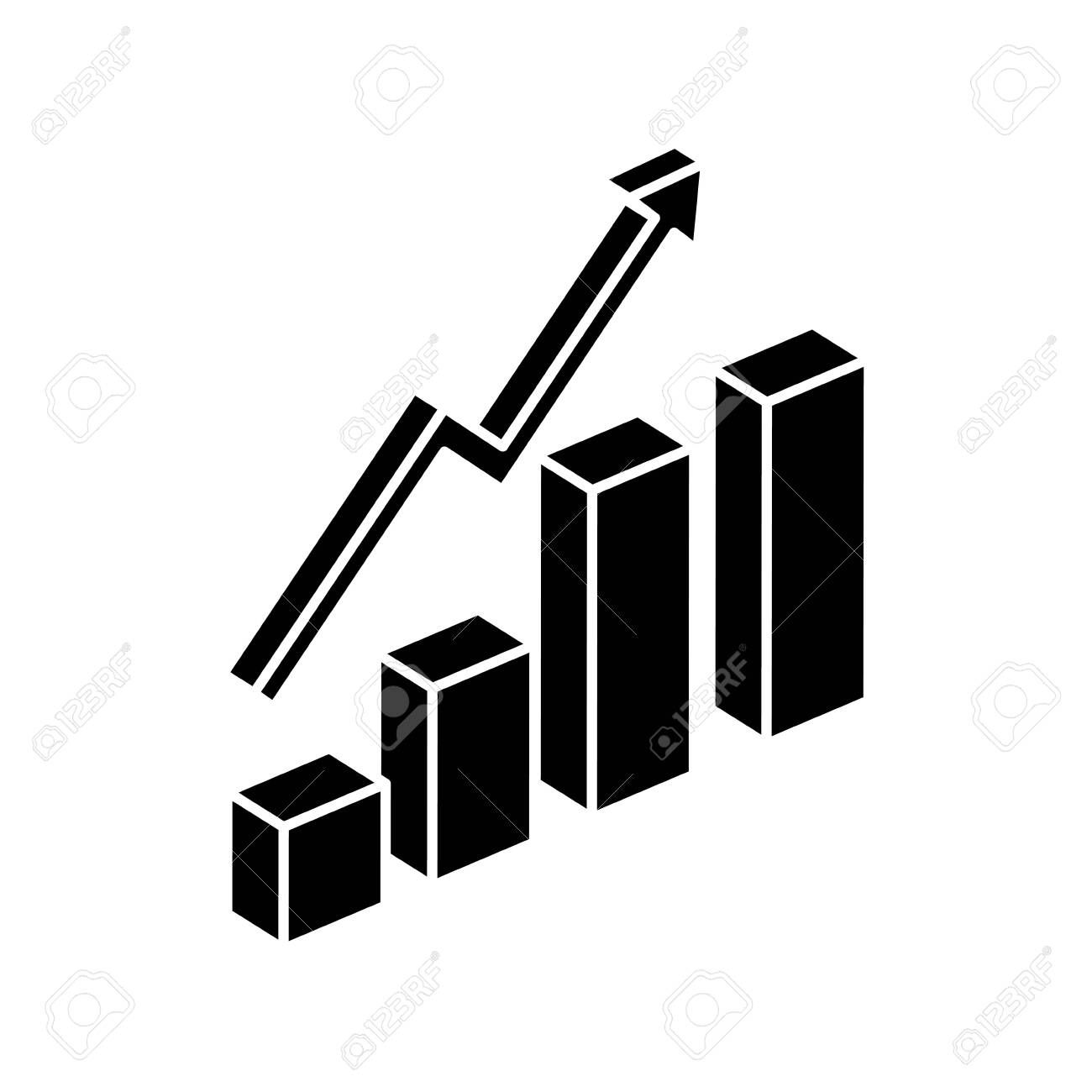 Silhouette Of Bars Statistical Graph With Arrow Up Isolated Icon Vector Illustration De Vector Illustration Design Social Media Logos Icons Illustration Design