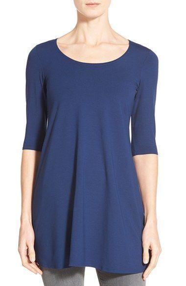 d3fbea3c373 Eileen Fisher Scoop Neck Elbow Sleeve Jersey Tunic (Regular &  Petite)(Online Only)