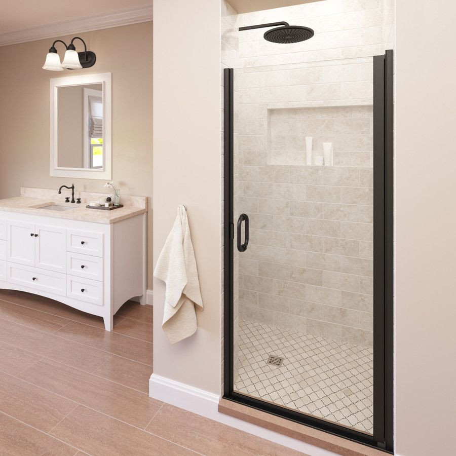 Basco Infinity 33 In To 34 In W Semi Frameless Hinged Oil Rubbed
