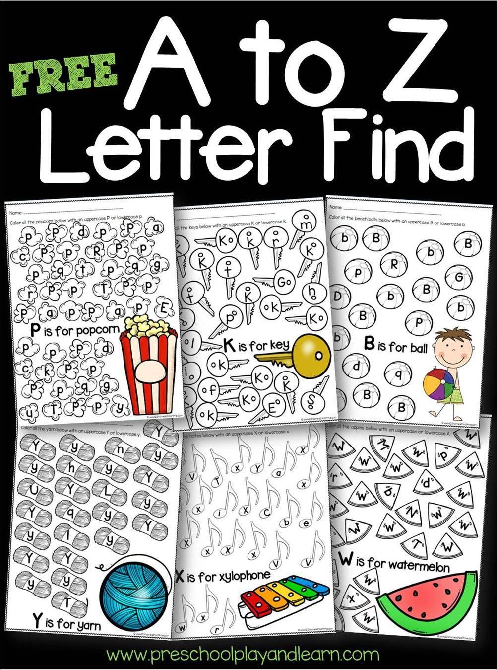 Free A To Z Letter Find Worksheets Letter Recognition Worksheets Kindergarten Letters Preschool Letters [ 1349 x 1002 Pixel ]