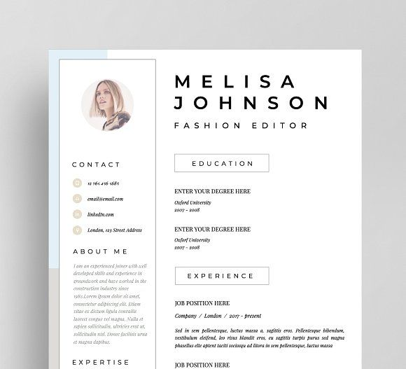 Resume Template 1 page Lisbon by Resume Angels on @crea\u2026 Clean