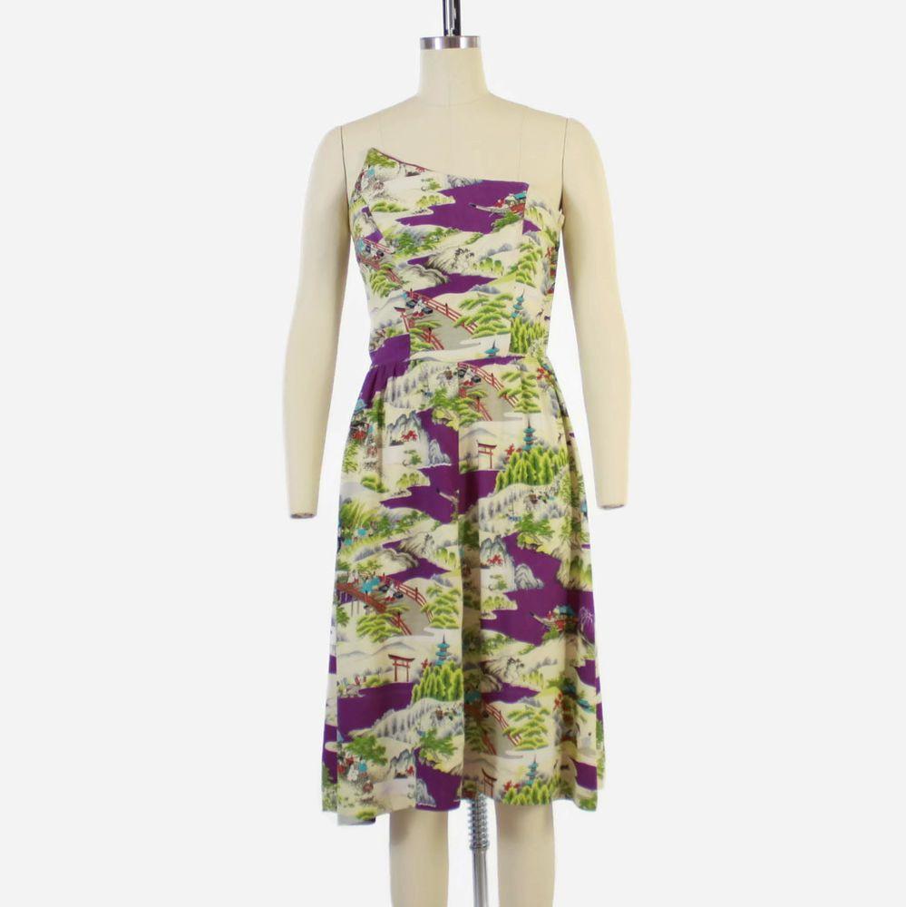 Vtg 50s Hawaiian Dress Novelty Print Silk Strapless Sun W Matching Shawl Surfriderssportswear