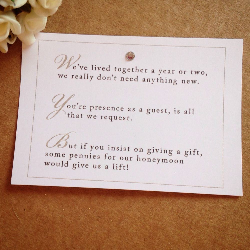 5 x Wedding Poem Cards For Invitations