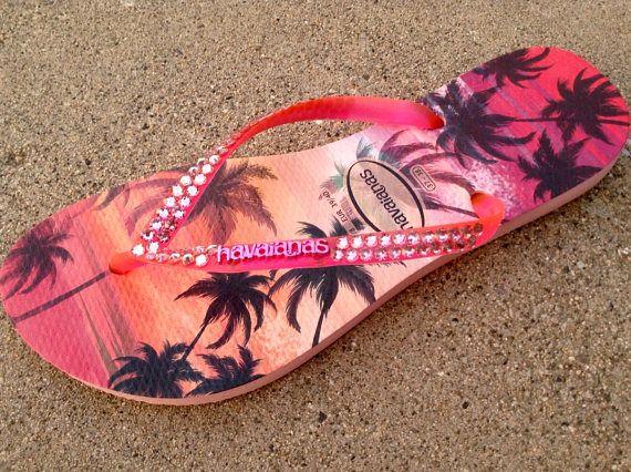 a772a1cdedca Pink Sun Sunset Havaianas Slim flat Ladies Flip Flops Hawaiian ...
