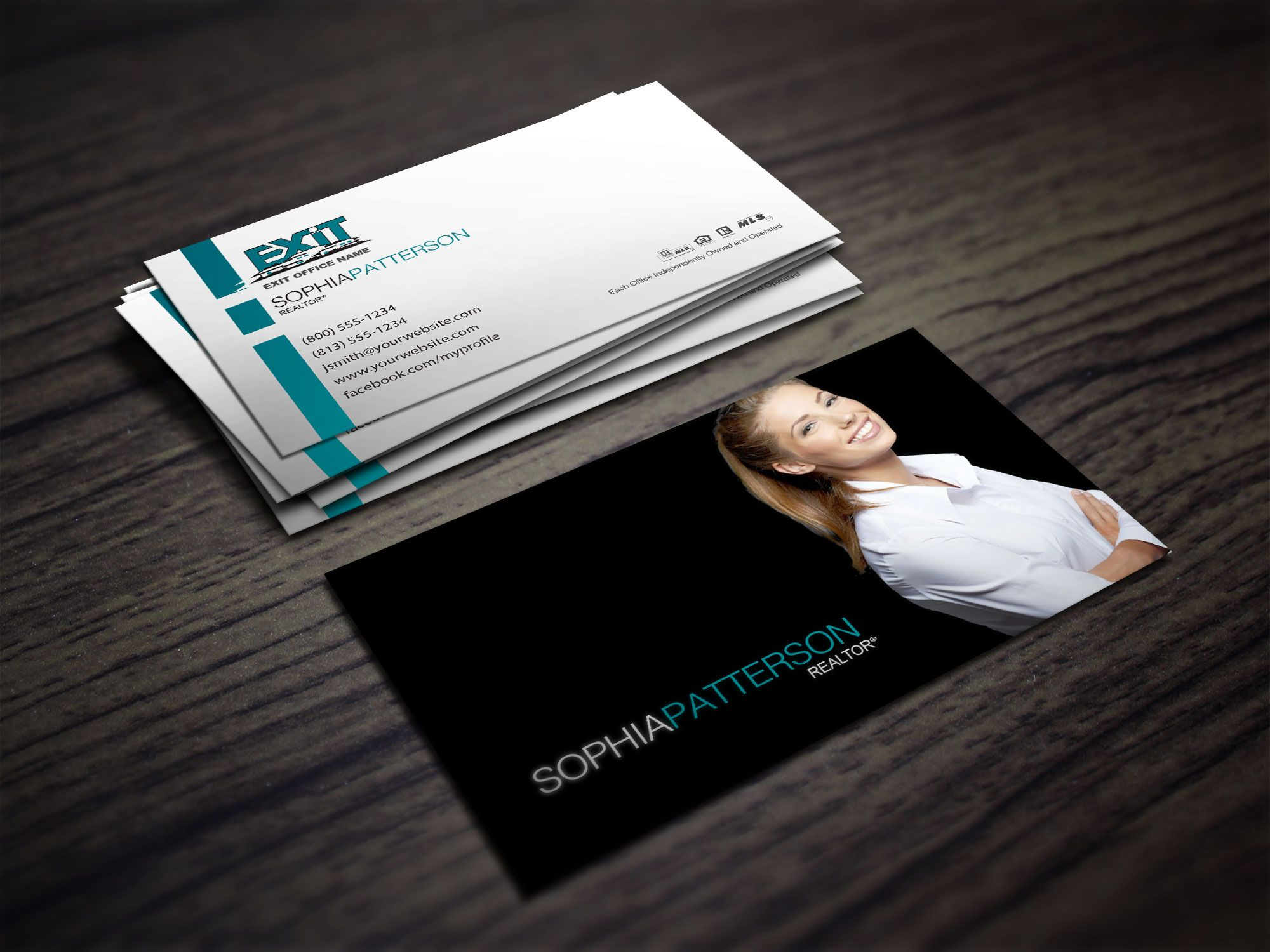 Clean And Modern Exit Realty Business Card Designs For Realtors Real Estate Agent Business Cards Real Estate Business Cards Realtor Business Cards
