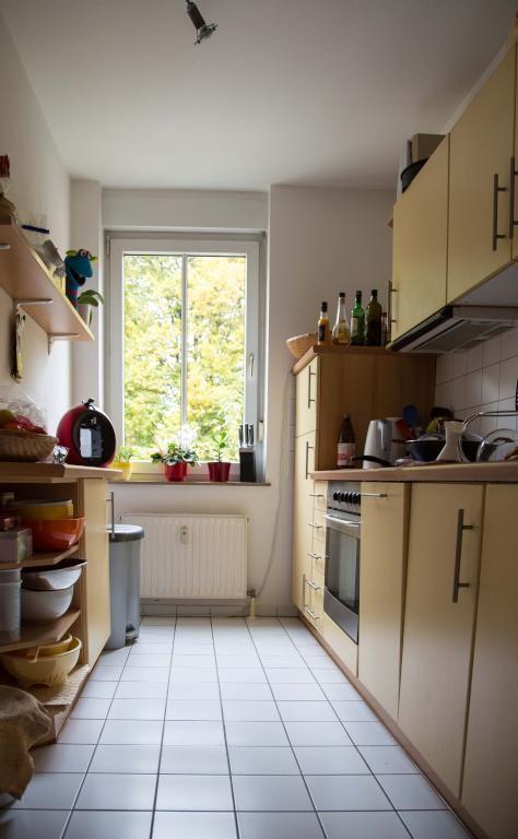 sch ne k che mit fenster und blick ins gr ne wohnung in dresden dresden wohnung apartment. Black Bedroom Furniture Sets. Home Design Ideas