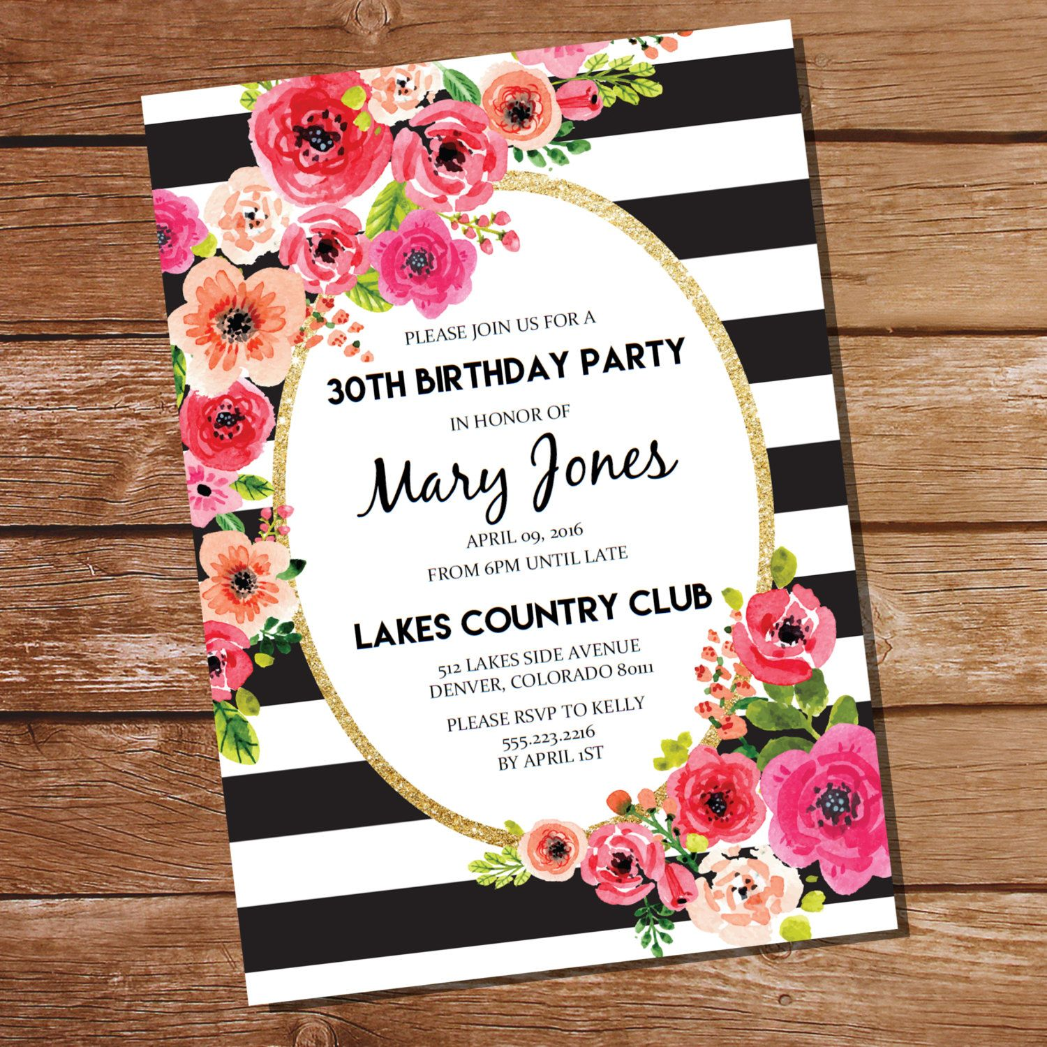 Black And White Stripe Floral Watercolor Birthday