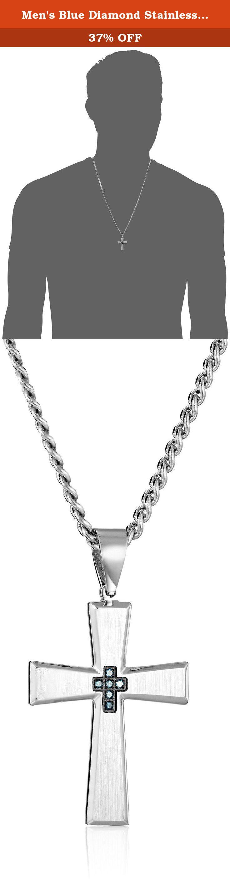 Men s Blue Diamond Stainless Steel Cross Pendant Necklace 24
