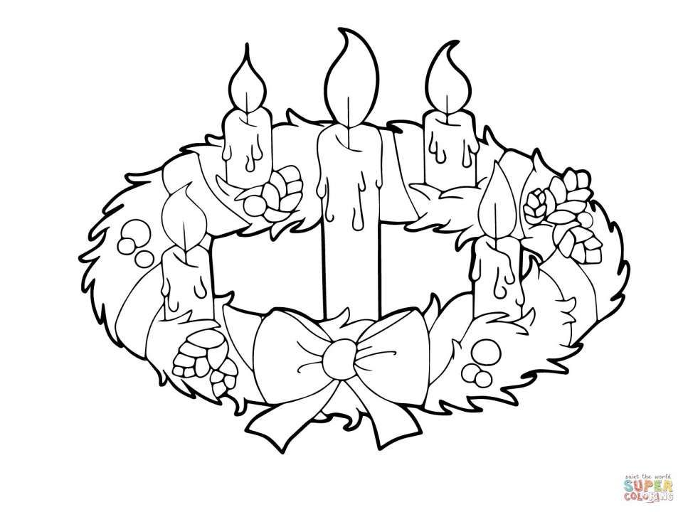 12 Advent Wreath Drawing Wreath Drawing Coloring Pages Advent Wreath
