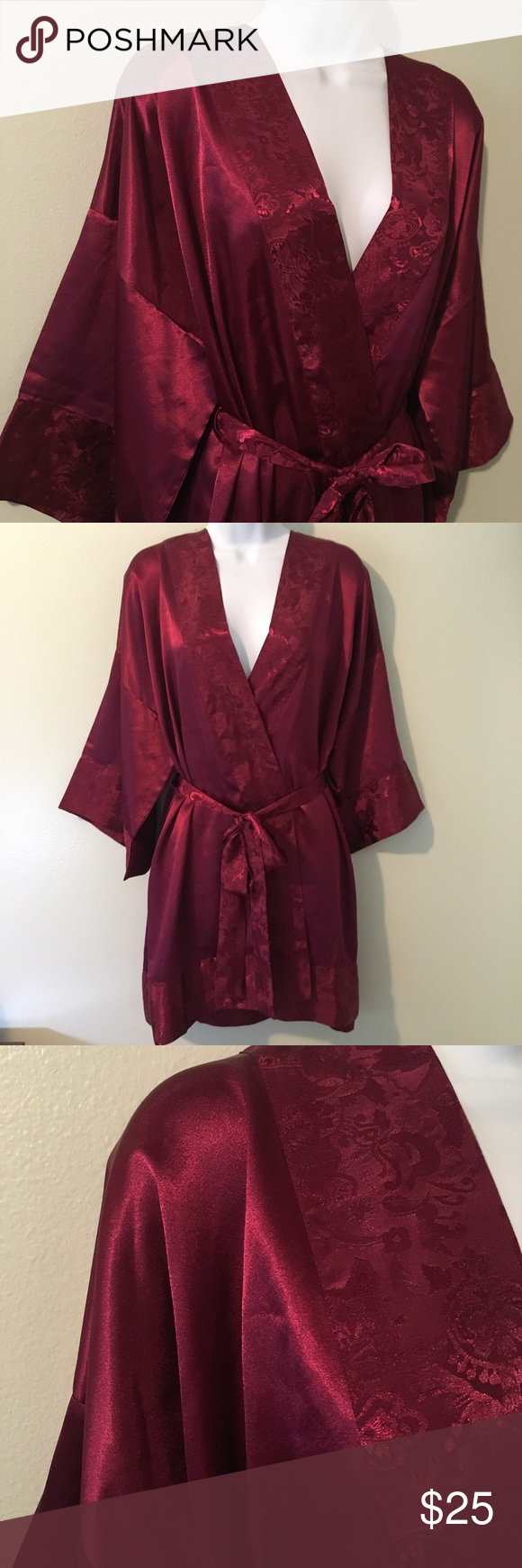 """Victoria's Secret Kimono One-Day Sale Victoria's Secret kimono, burgundy red with paisley patterning on the cuff and hem. So pretty! Ni damage; no stains, no snags, no rips. OSFA, 34"""" length (last photo is only to show the fit). Detached sash. Bundle with other items in my closet; you'll save more money and pay one shipping fee! Sign up in my closet to be notified of my new VS/PINK listings. Victoria's Secret Intimates & Sleepwear Robes"""