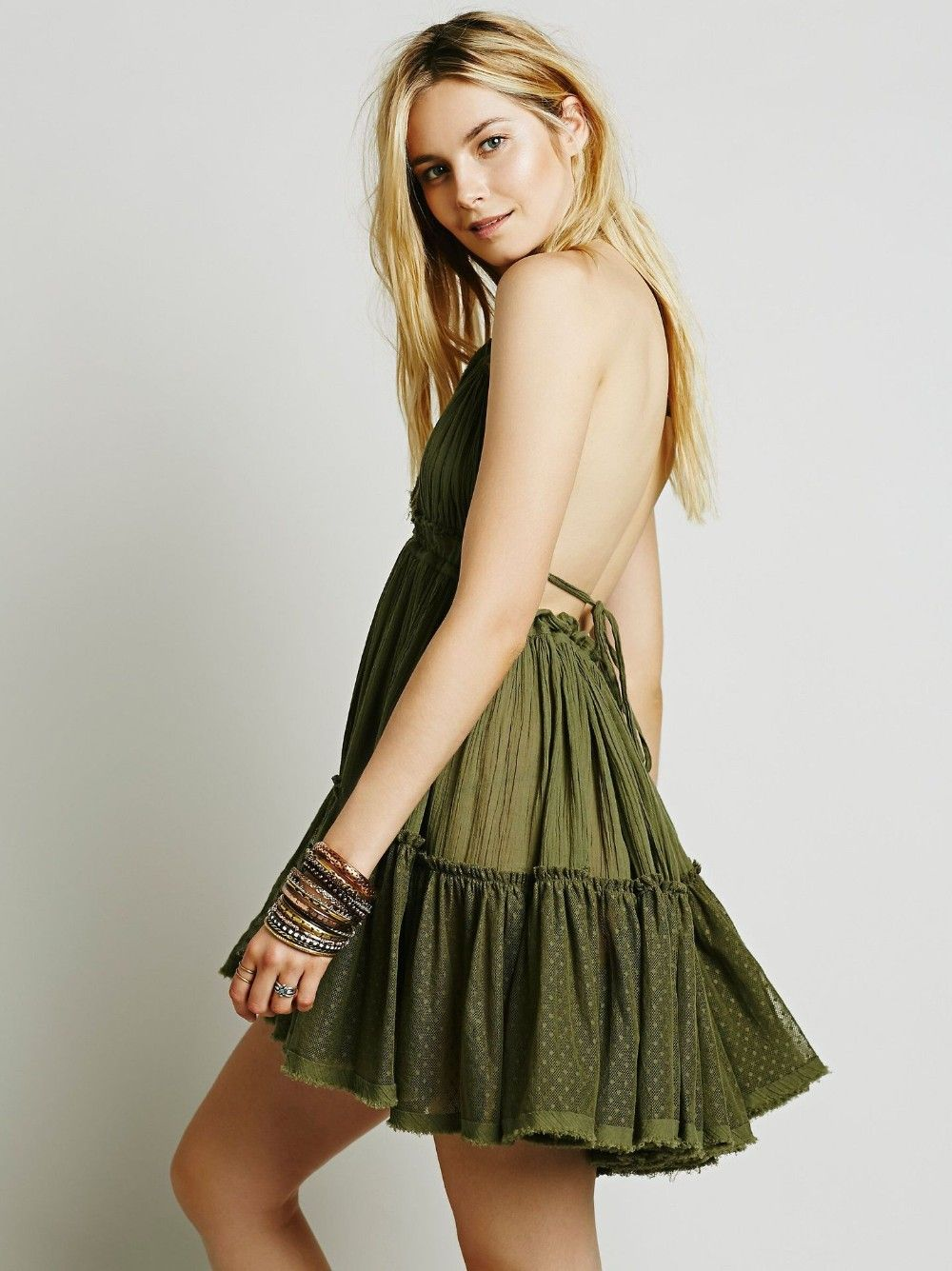 Backless beach lace strapless short pleated cute dress uniqistic