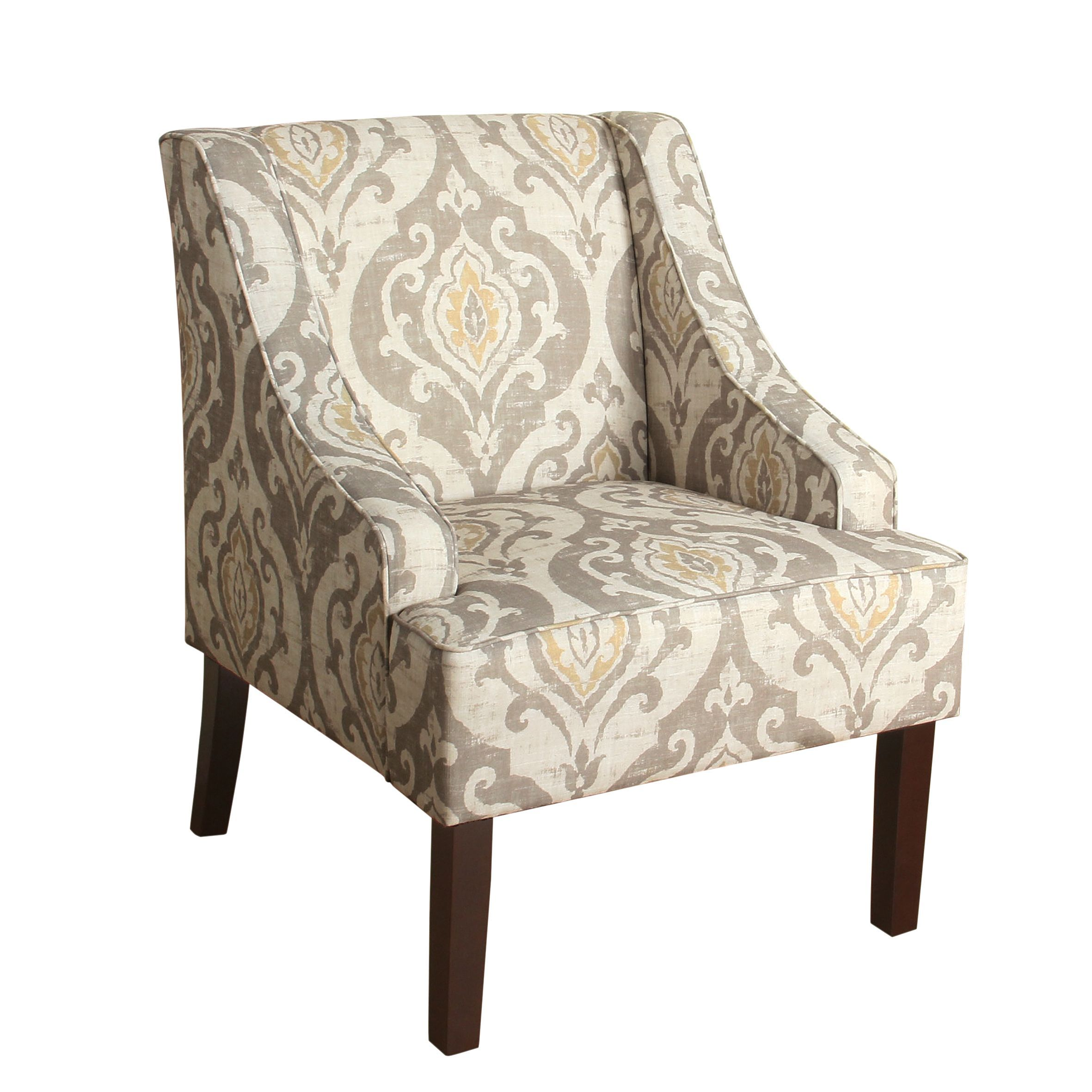 HomePop Suri Swoop Arm Accent Chair (Natural Raffia), Multi (Fabric ...