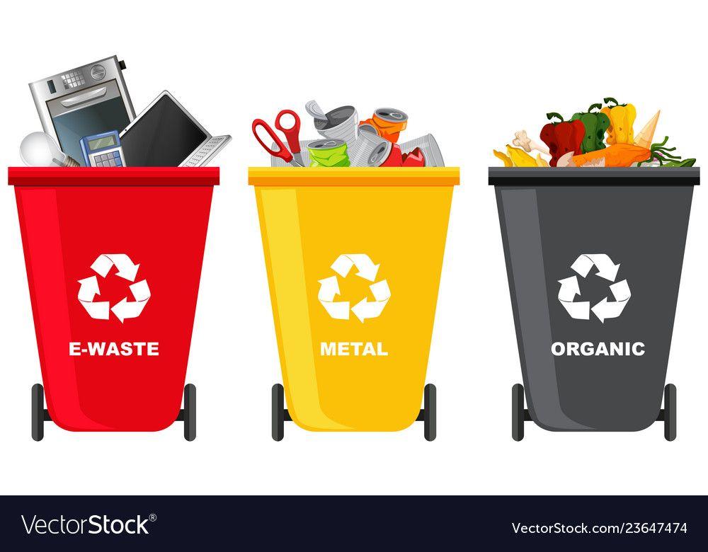 Set Of Different Trash Can Vector Image On Vectorstock Signage Design Trash Can Trash
