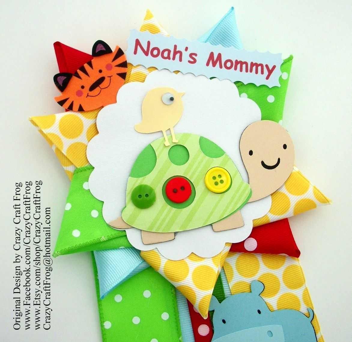 Safari Baby Shower Corsage: Colorful Safari Baby Shower Corsage By Crazy Craft Frog