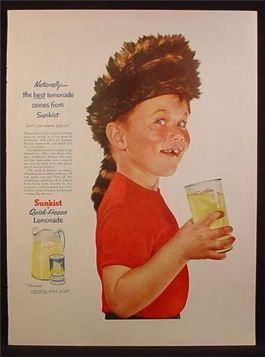 Magazine Ad For Sunkist Quick-Frozen Lemonade, Boy In Coon Skin Daniel Boone Hat, 1955