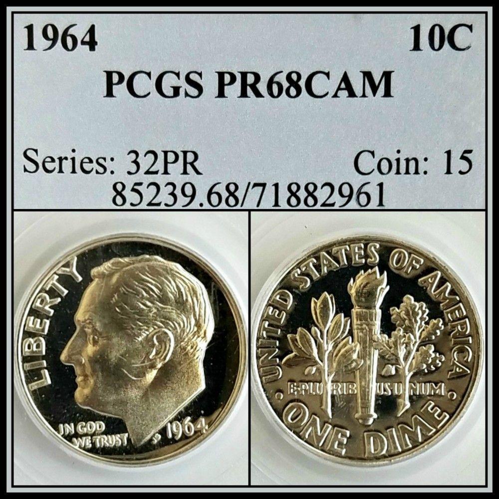 1964 PROOF ROOSEVELT DIME PCGS PR65