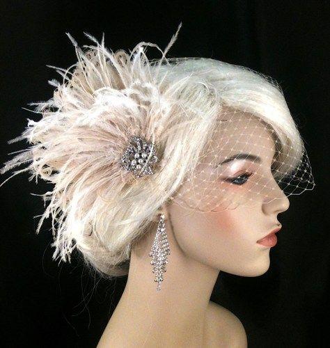 Bridal Fascinator Feather Wedding Head Piece Hair Accessories Veil Set Gatsby Great