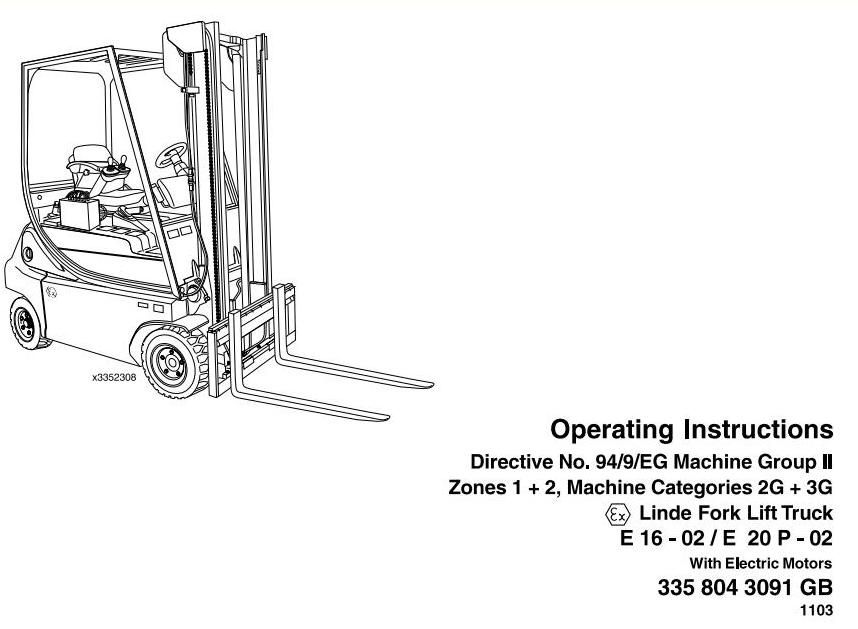 Linde Electric Forklift Truck 33502 Series Explosion Protected – User Manual Format