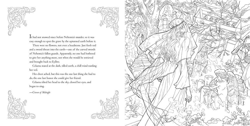 Bloomsbury Reveals Pages Of Throne Of Glass Coloring Book Ya Throne Of Glass Coloring Books Throne Of Glass Series