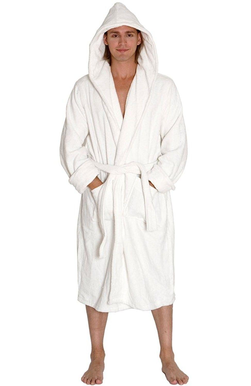 Mens Turkish Terry Cloth Robe- Thick Hooded Bathrobe - White - CZ114LHJA5P a3a4b8d9a