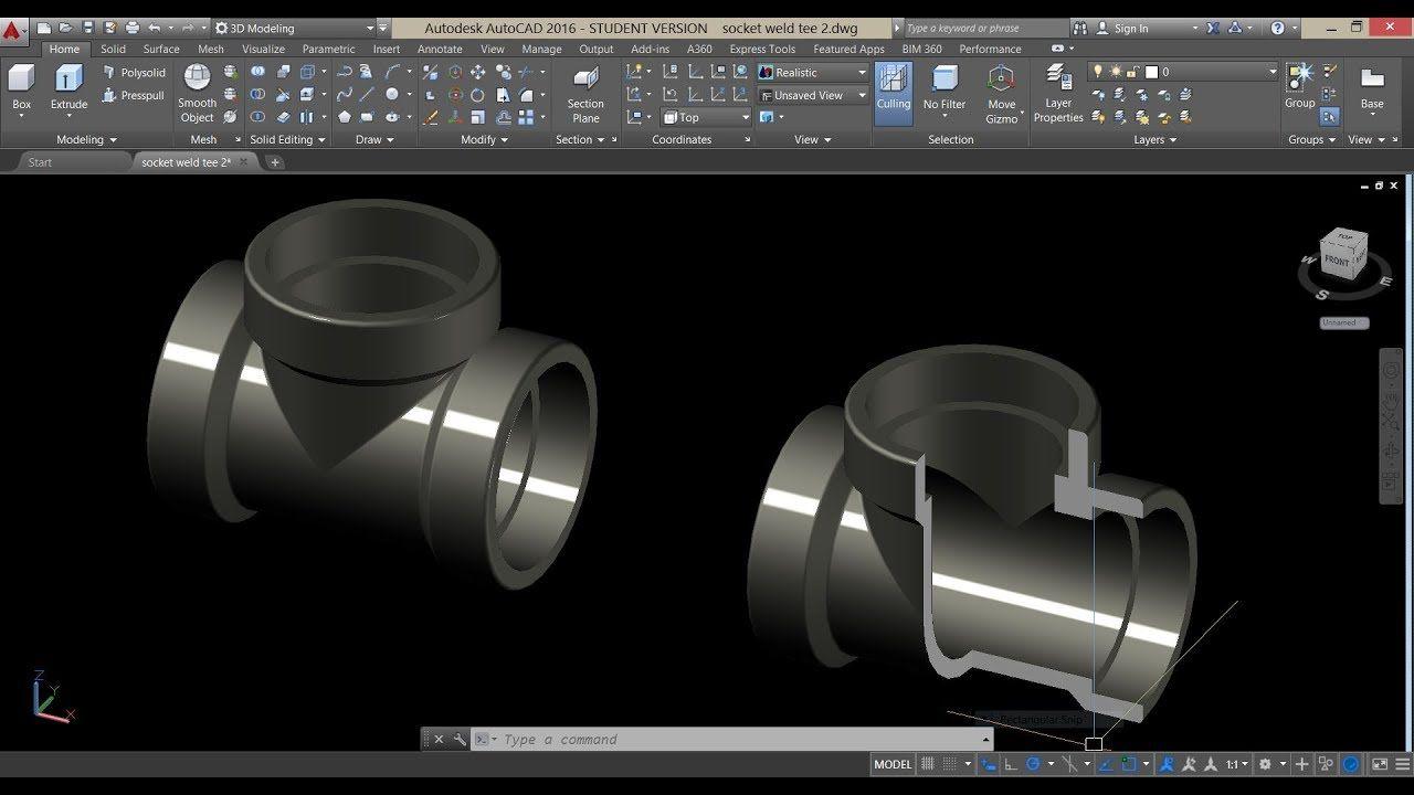 socket weld tee modeling in Autocad 3D 2016 Autocad