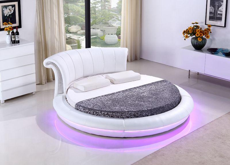 moderne schlafzimmermobel, zeitgenössische moderne leder led runde bett drahtlose fernbedienung, Design ideen