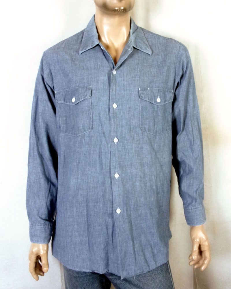 Vtg 50s 60s Lee Usa Made 100 Cotton Chambray Denim Work Shirt 16 16 5 L Long Work Shirts Shirts Vintage Denim