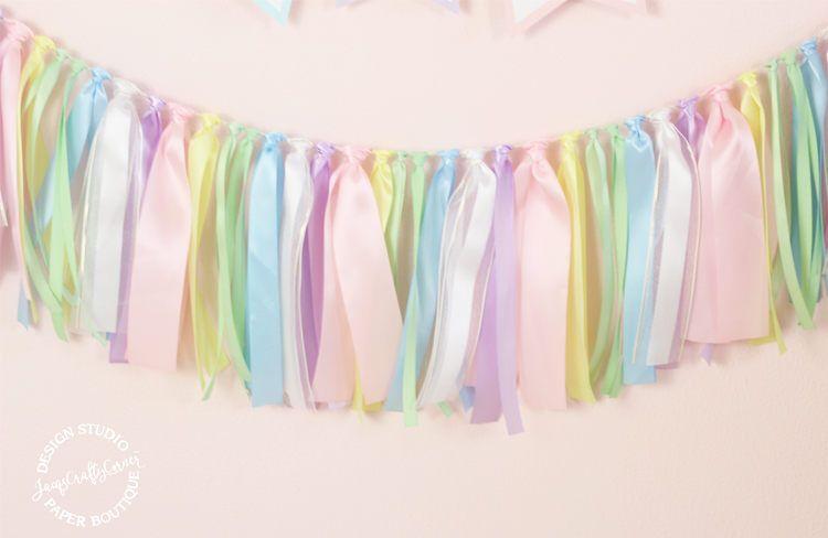 Pastel Rainbow Ribbon Garland   Unicorn First Birthday ...