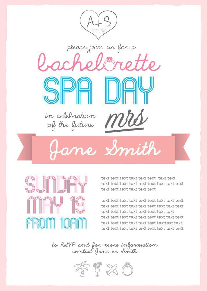 bachelorette spa day invitation