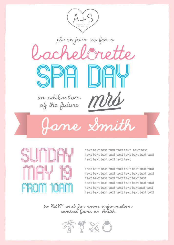 Bachelorette Spa Day Invitation Wedding Hens