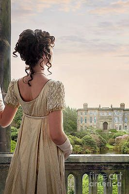 Regency Woman Looking At A Mansion House by Lee Avison