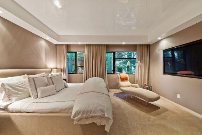 Moderne Schlafzimmer Designer Lösung Creme Möbel Boden Hochglanz Weiß Decke  Tv Wand
