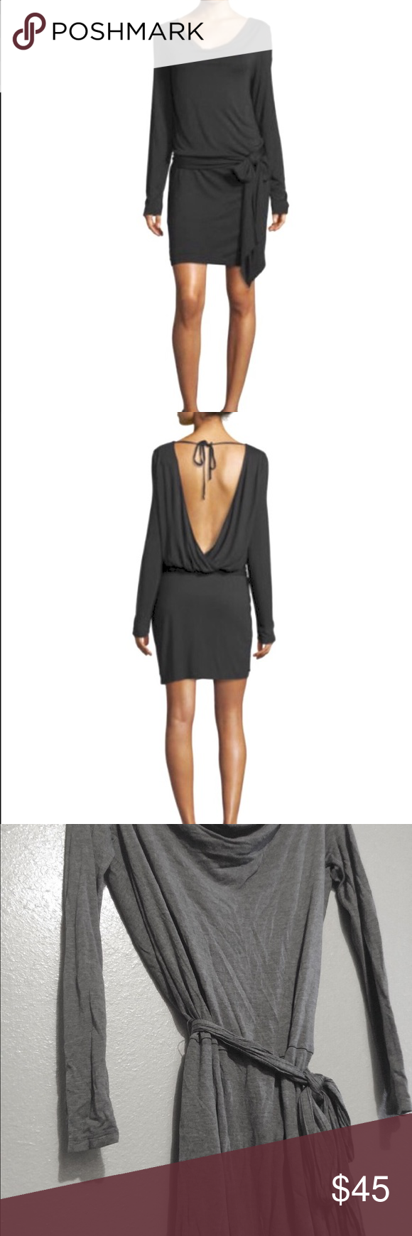 Haute Hippie sexy backless shirt dress with wrap This super sexy shirt dress is light weight and very comfortable. It has a slight draping neckline and a sexy plunging back. The dress ties at the neck and also has a matching belt that can be tied on the front, back or side for an extra touch of class. It has only been worn one time and has no imperfections. Needs to be ironed as its a bit wrinkled. Haute Hippie Dresses Mini