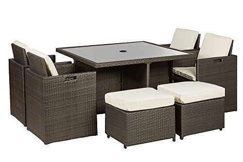 Royalcraft Roma Grey 10 Seater Cube Wicker Set including cushions