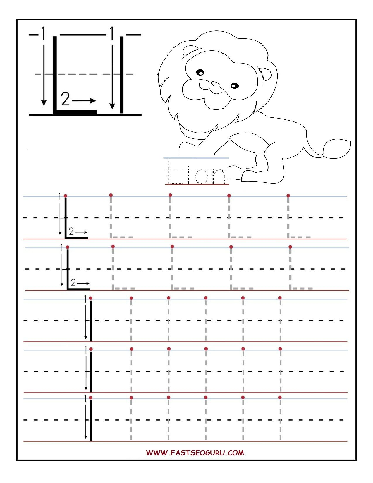 Printable Letter L Tracing Worksheets For Preschool 1