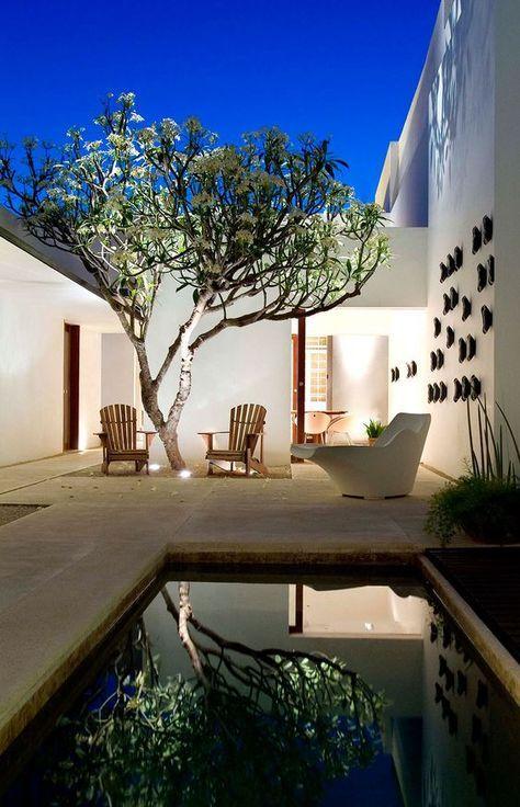 El patio! Amplio, muy bien distribuido, la alberca y la iluminacion - iluminacion jardin