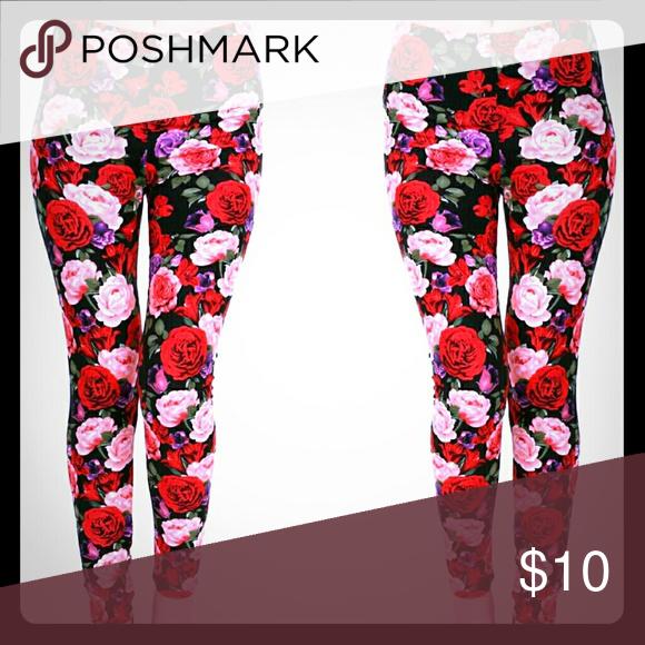 FLASH SALE💕 Leggings Red floral print leggings. NEW 92