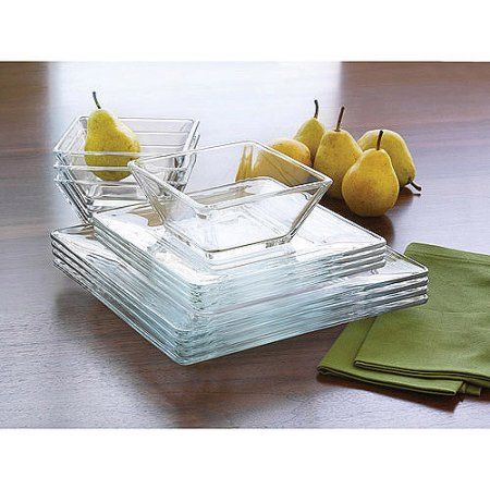 Mainstays 12 Piece Square Glass Dinnerware Set Glass Dinnerware
