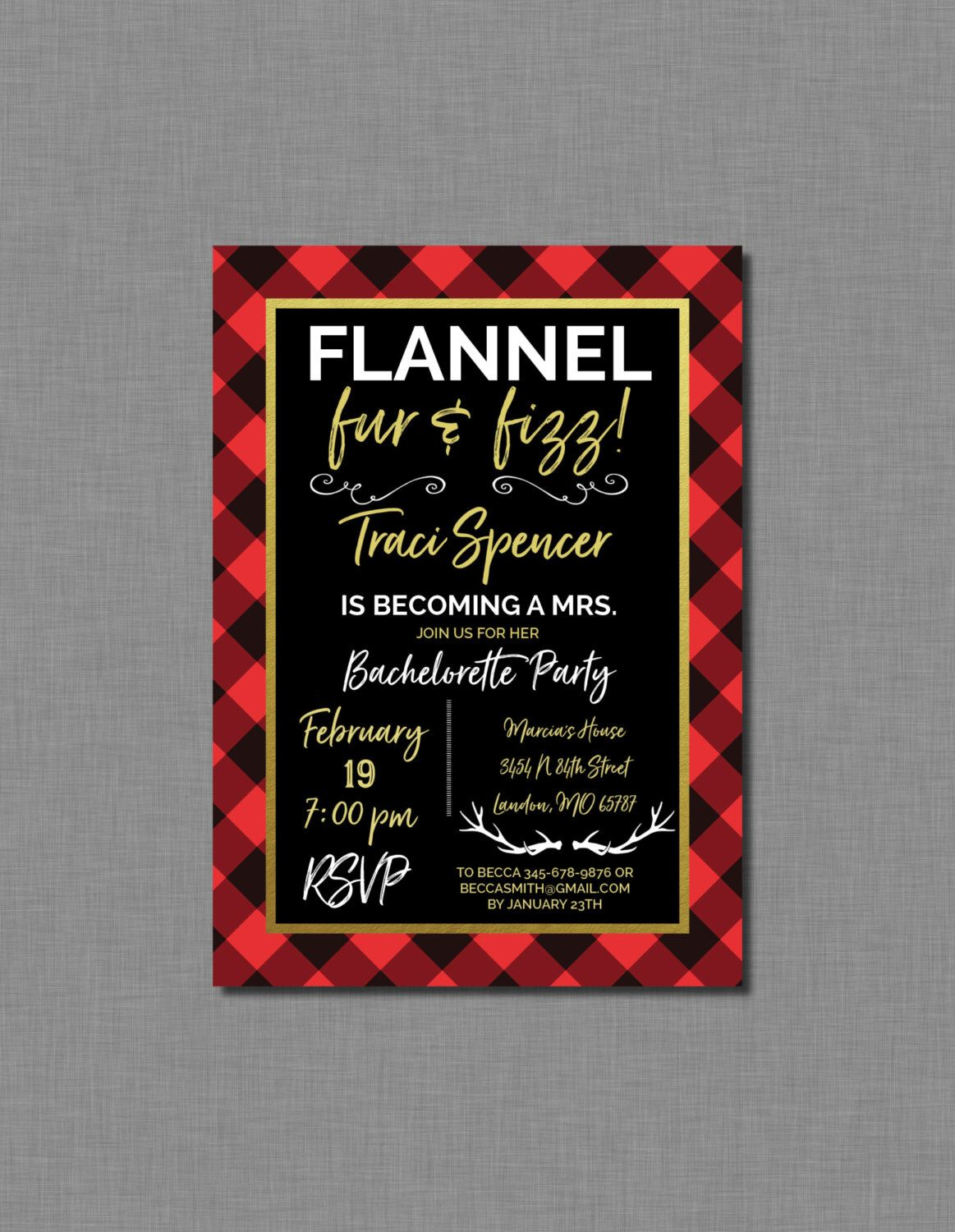 Bachelorette Party Invitation Flannel Fur and Fizz Digital or ...