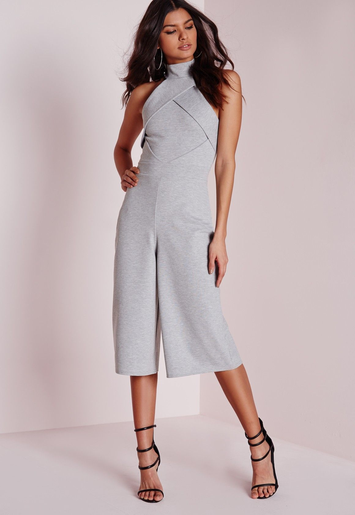 319411f3729c Missguided - Origami Culotte Jumpsuit Grey