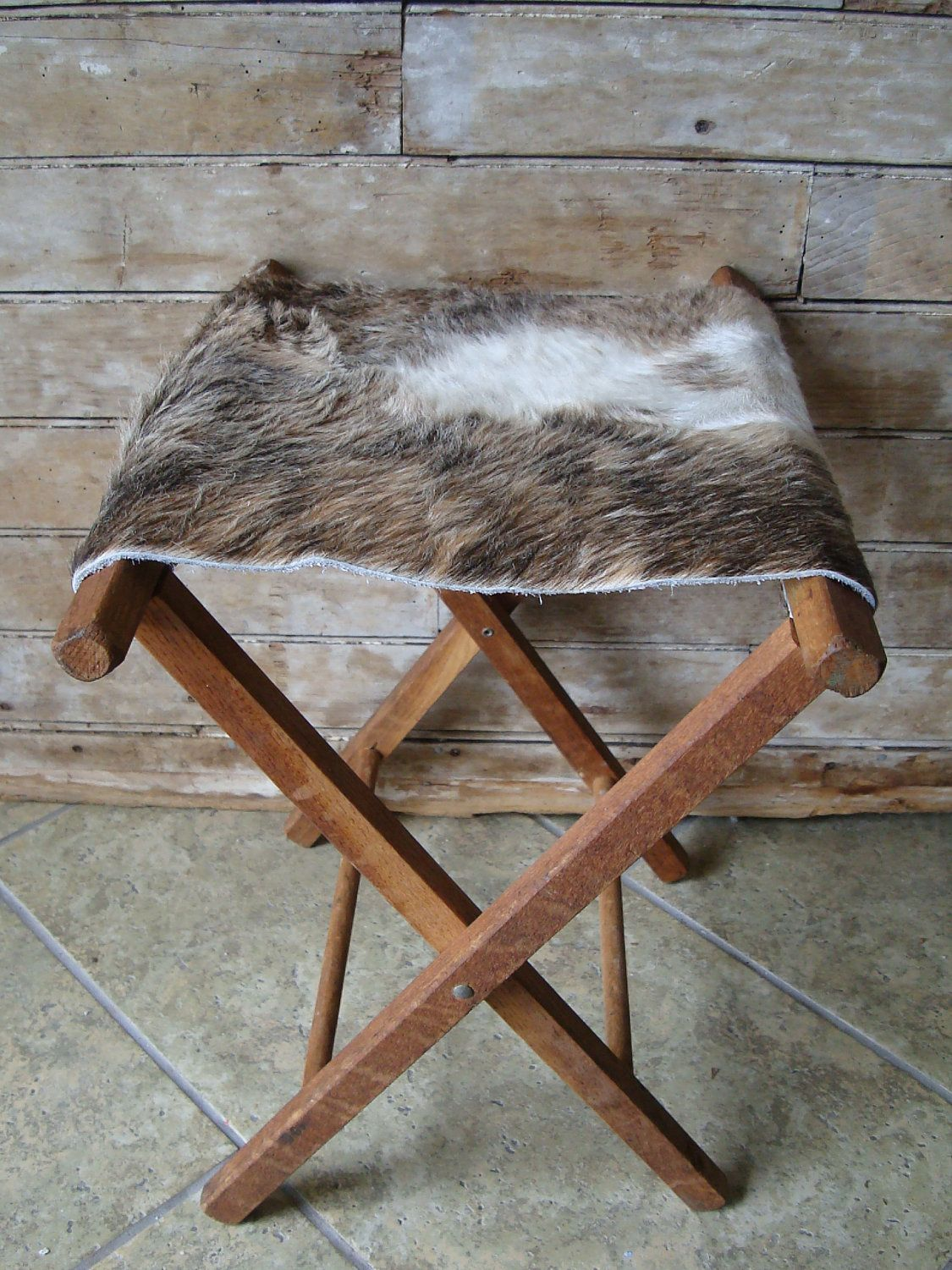 Vintage Camp Stool Cowhide Primitive Wooden Rare This