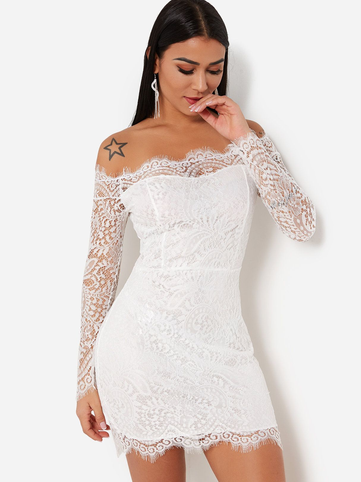 76418c504 White Lace Details Eyelash Trim Off Shoulder Long Sleeves Sexy Party Dress